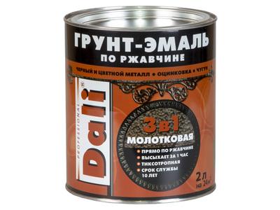 Эмаль молотковая DALI коричневая 2л.