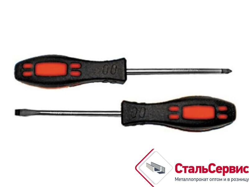 Отвертка, 6х100мм РН2, CrV, магнит.наконечник, двух.цв.ручка